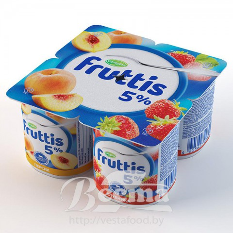 Fruttis Creamy dainty 5% Strawberry\Peach yoghurt product 115g